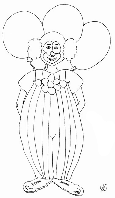 Clown mit 3 großen Luftballons