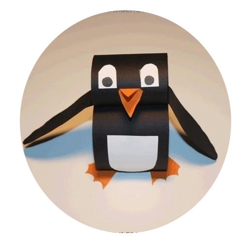 Putziger Pinguin aus Papierstreifen