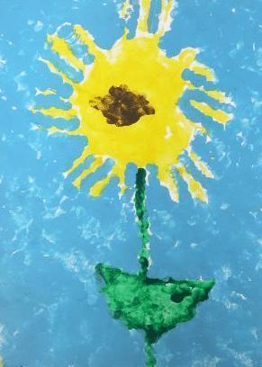 Sonnenblumen-Handdruck