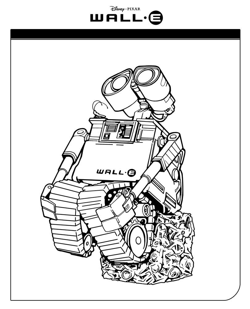 WALL-E sitzt auf einem Schrottwürfel