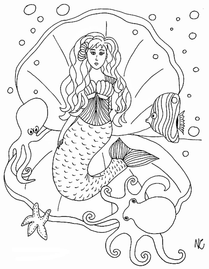 fantasy ausmalbilder meerjungfrau erwachsene - coloring