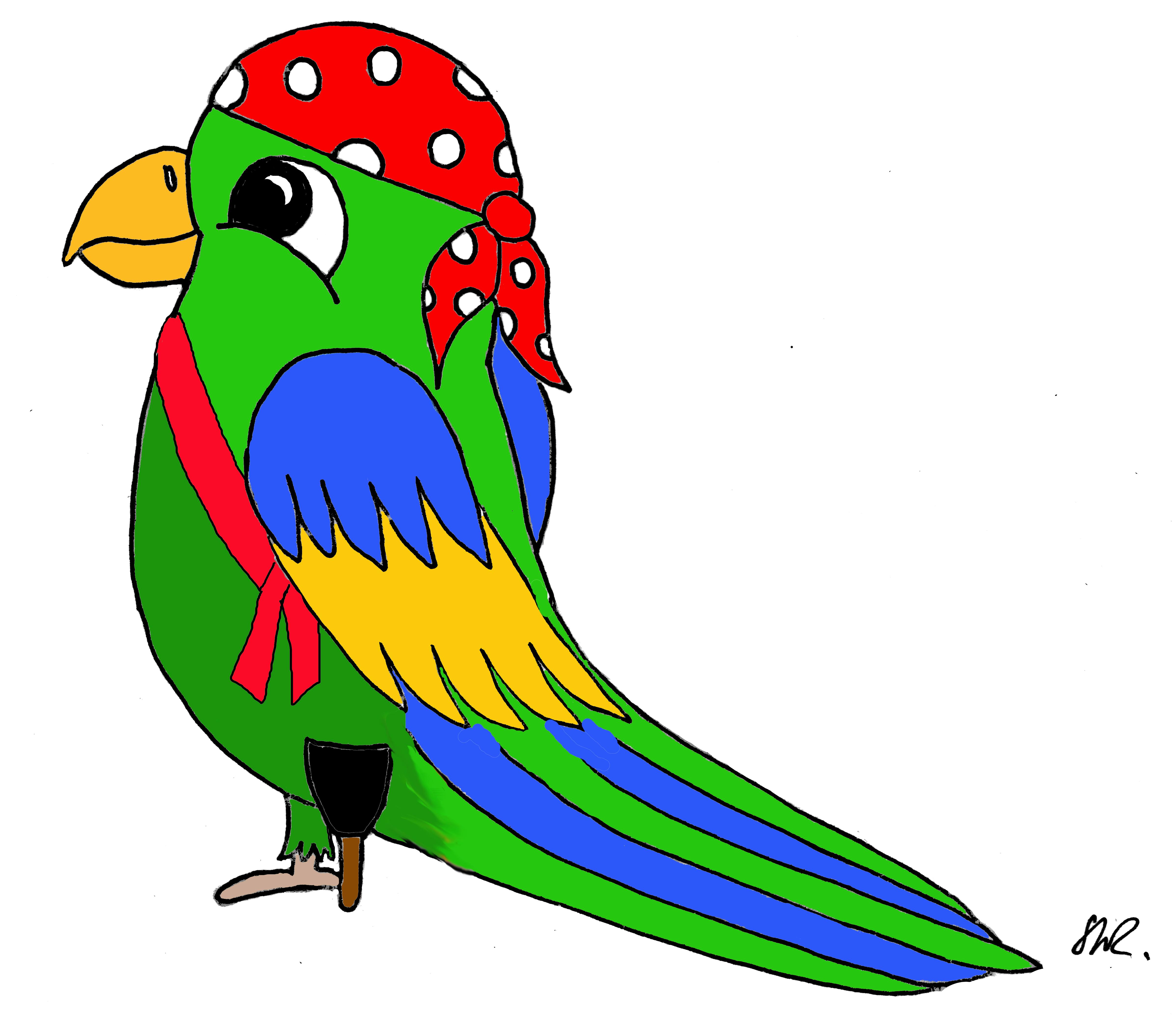 Papagei mit Holzbein