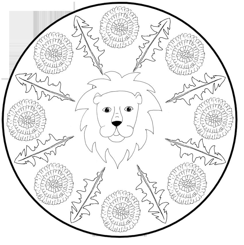 Löwiges Löwenzahn-Mandala