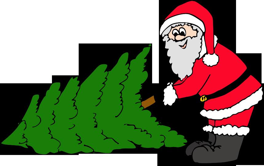 weihnachtsmann mit baum  kindergaudi