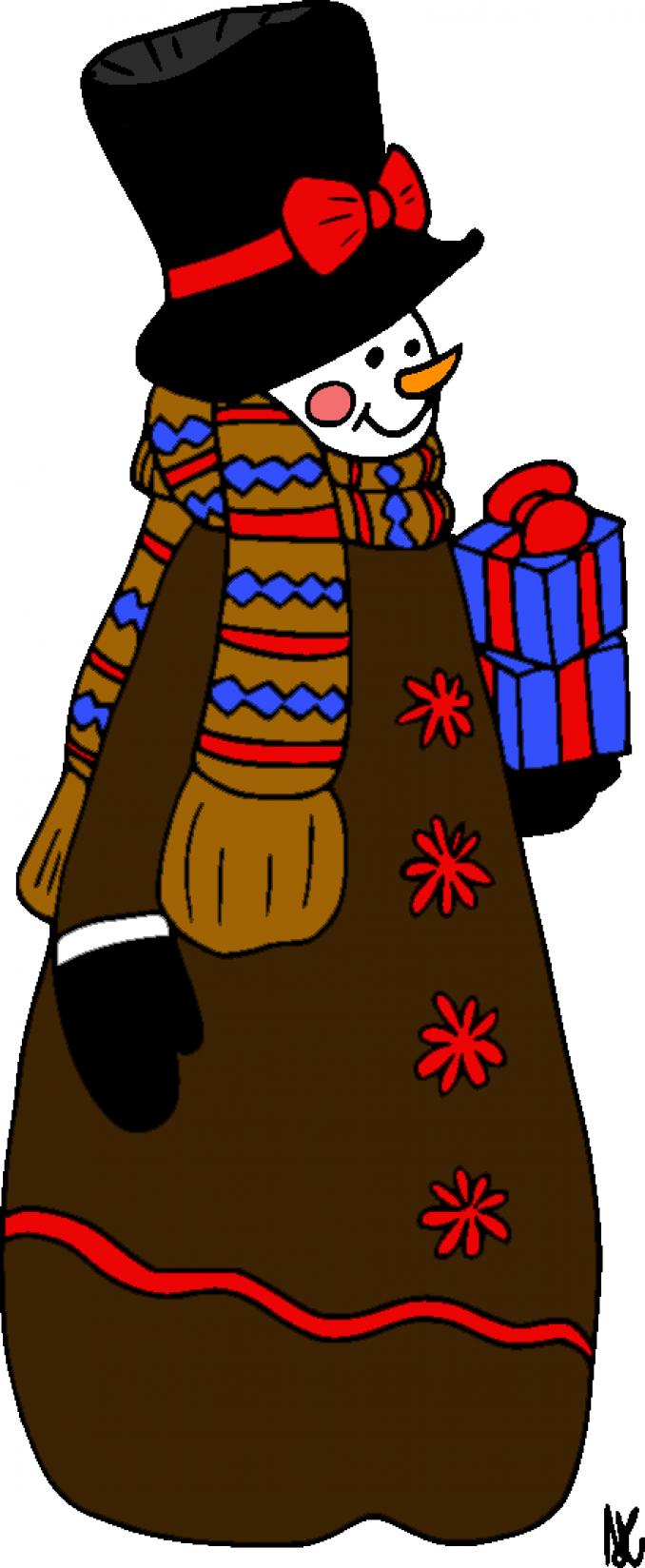 schneemann mit geschenken  kindergaudi