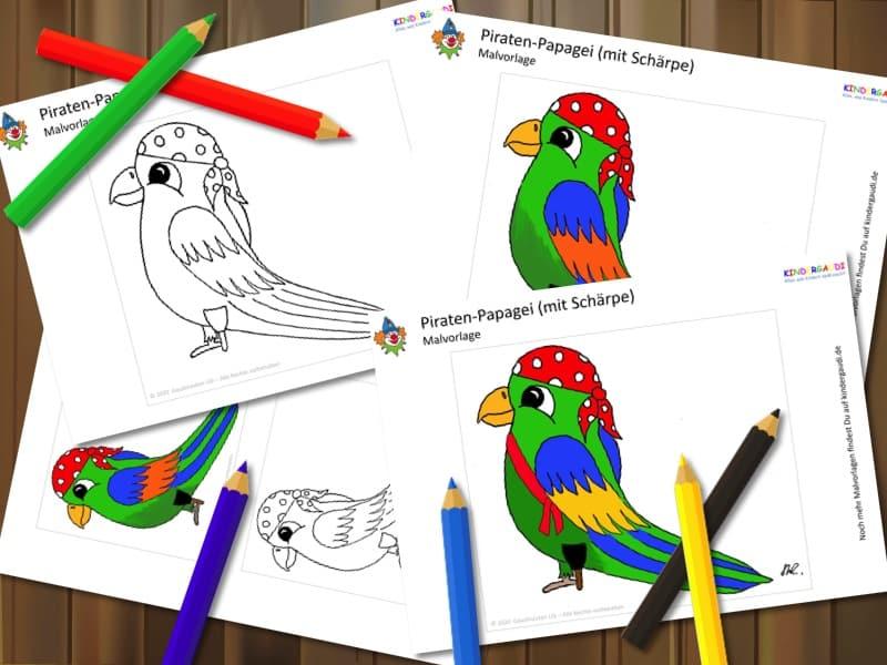 Malvorlage: Papagei mit Holzbein