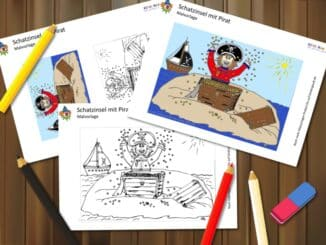 Malvorlage Schatzinsel mit Pirat